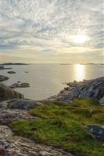 Preview iPhone wallpaper Sweden, sea, coast, rocks, clouds, sunset