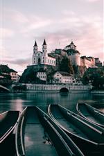 Vorschau des iPhone Hintergrundbilder Die Schweiz, Aarburg, Boote, Fluss, Brücke, Stadt
