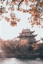 iPhone fondos de pantalla Taizhou, Parque Donghu, edificios, árboles, lago, China