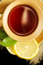 Preview iPhone wallpaper Tea, cup, cookies, lemon slice, spoon