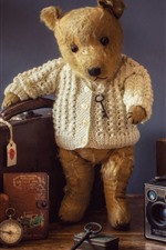 Preview iPhone wallpaper Teddy bear, suitcase, pink flowers, lamp, speaker, still life