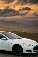 Tesla Model S white car side view