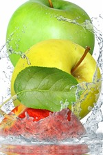 Preview iPhone wallpaper Three apples, green, yellow, red, water splash