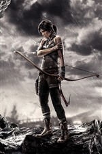 Preview iPhone wallpaper Tomb Raider, Lara Croft, bow, rainy