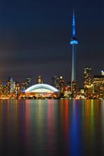 Toronto, canadá, arranha-céus, luzes, noturna, rio