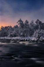 Aperçu iPhone fond d'écranArbres, rivière, neige, hiver, crépuscule