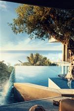 Preview iPhone wallpaper Tropical, sea, swim pool, tree, girl