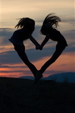 Preview iPhone wallpaper Two girls jump, love heart shaped, silhouette