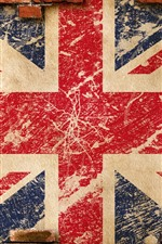 Preview iPhone wallpaper UK flag, bricks wall