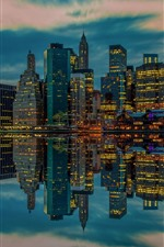 Preview iPhone wallpaper USA, New York, skyscrapers, lights, river, water reflection