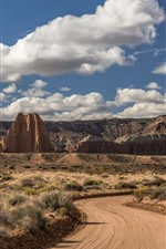 USA, Utah, Cathedral Valley, road, clouds