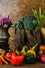 iPhone壁紙のプレビュー 野菜、カボチャ、ピーマン、カリフラワー、タマネギ、花