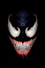 Preview iPhone wallpaper Venom, face, teeth, black background, art picture