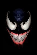 Vorschau des iPhone Hintergrundbilder Gift, Gesicht, Zähne, schwarzer Hintergrund, Kunstbild