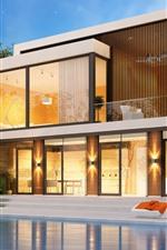 Preview iPhone wallpaper Villa, pool, 3D design