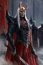 Preview iPhone wallpaper Warrior, fantasy, mask, sword, blood, art picture
