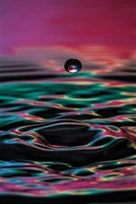 Preview iPhone wallpaper Water droplet fall, moment, waves