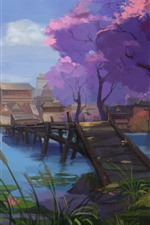 Preview iPhone wallpaper Watercolor painting, China, village, retro style