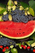 Preview iPhone wallpaper Watermelon and grapes, fruit