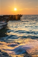 Preview iPhone wallpaper Weizhou Island, sea, rocks, sunset, China
