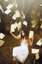 Preview iPhone wallpaper White skirt girl, tree, paper, art photography