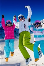 Preview iPhone wallpaper Winter, snow, family, colorful clothes, snowboard