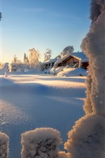 Preview iPhone wallpaper Winter, snow, houses, trees, sun rays