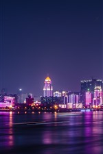 Wuhan, Yangtze River, city, skyscrapers, lights, night, China