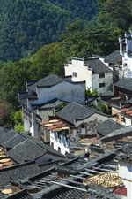 Preview iPhone wallpaper Wuyuan, Jiangxi, China, village, houses, countryside