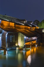 Preview iPhone wallpaper Wuzhen, Zhejiang, China, night, houses, river, lights