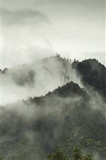 Preview iPhone wallpaper Yanshan, mountains, fog, morning, autumn, China