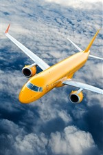 Preview iPhone wallpaper Yellow passenger plane, flight, sky