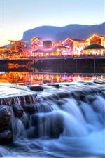 Preview iPhone wallpaper Zhangjiajie, China, river, houses, lights, dusk