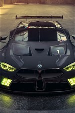 Preview iPhone wallpaper 2018 BMW M8 GTE black racing car, headlight