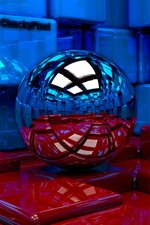 Preview iPhone wallpaper 3D design, blue and red cubes, ball