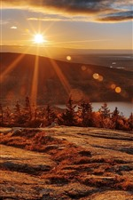 Preview iPhone wallpaper Acadia National Park, trees, mountains, lake, sunset, USA