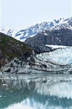 Аляска, ледник, горы, озеро, снег