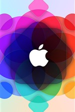 Apple, círculos coloridos fundo