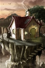 Preview iPhone wallpaper Art painting, houses, valley, bridge, birds, sunset