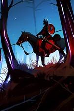 iPhone обои Художественная картина, лес, конь, воин, всадник
