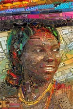 Preview iPhone wallpaper Art picture, mosaic, Africa, girl, book