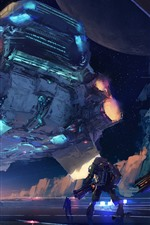 Preview iPhone wallpaper Art picture, spaceship, robots, sci fiction