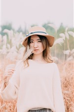 Preview iPhone wallpaper Asian girl, hat, reeds, autumn