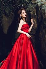 Asian girl, red skirt, rocks, art photography