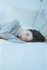 Preview iPhone wallpaper Asian girl sleeping, bed, bedroom