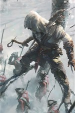 Preview iPhone wallpaper Assassin's Creed, Ubisoft, soldiers, tree, winter