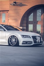 Preview iPhone wallpaper Audi A7 white car side view