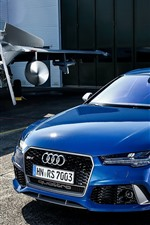 Preview iPhone wallpaper Audi RS7 Sportback blue car and fighter