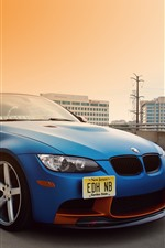 Preview iPhone wallpaper BMW E92 M3 blue car, city, road