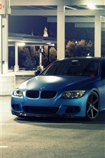 Preview iPhone wallpaper BMW E92 M3 blue car, night, lights